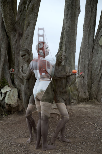 Three women blends into the Golden gate bridge and its surroundings in California, US. (Photo by Trina Merry/Caters News)