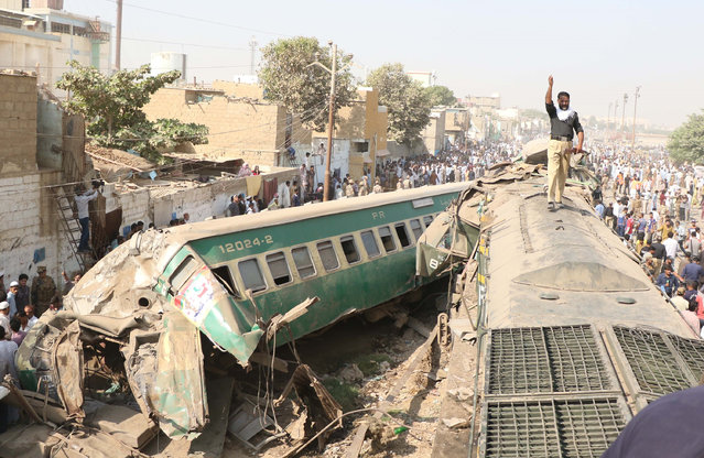 A view of a site of the train accident in Karachi on November 03,2016.At least 17 people were killed and over 45 injured when two passenger trains collided Thursday morning near Karachis Landhi Railway Station. (Photo by Sabir Mazhar/Anadolu Agency/Getty Images)