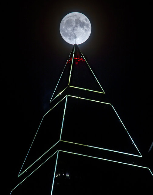 """Full moon appears behind the Messeturm tower in Frankfurt am Main, western Germany, on November 13, 2016. Skygazers will be heading to high-rise buildings, ancient forts and beaches to witness the closest """"supermoon"""" to Earth in almost seven decades, hoping for dramatic photos and spectacular surf. The unusually big and bright Moon will appear at its most impressive just as night falls over Asia, but astronomy enthusiasts will be able to see Earth's satellite loom large anywhere in the world shortly after sunset, weather permitting. (Photo by Frank Rumpenhorst/AFP Photo/DPA)"""