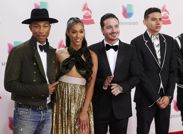 (L-R) Pharrell Williams, BiA, J Balvin, and Sky arrive at the 17th Annual Latin Grammy Awards in Las Vegas, Nevada, U.S., November 17, 2016. (Photo by Steve Marcus/Reuters)
