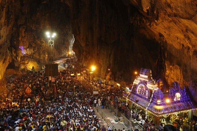Hindu devotees gather at the shrine in Batu Caves temple during Thaipusam in Kuala Lumpur February 3, 2015. (Photo by Olivia Harris/Reuters)