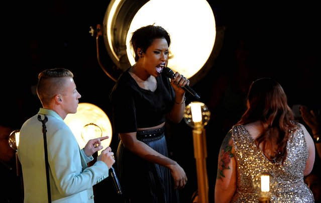 Macklemore, Jennifer Hudson and Mary Lambert perform at the MTV Video Music Awards. (Photo by Scott Gries/Invision)