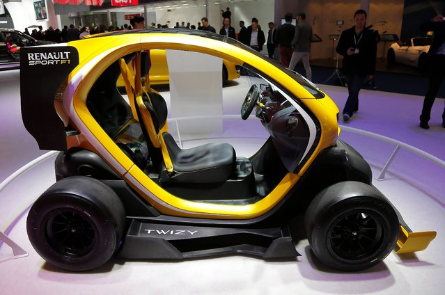 A Renault Twizy Sport F1 is on display during the second press day of the 65th Frankfurt Auto Show in Frankfurt, Germany, Wednesday, September 11, 2013. (Photo by Frank Augstein/AP Photo)