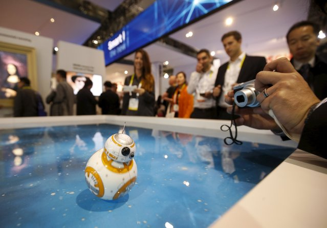 A Star Wars BB-8 remote-controlled toy by Sphero is used to show off the Bosch Inertial Measurement Unit sensor (BMI055) during the 2016 CES trade show in Las Vegas, Nevada January 8, 2016. The ultra-small 6-axis inertial sensor combines an accelerometer and a gyroscope. (Photo by Steve Marcus/Reuters)