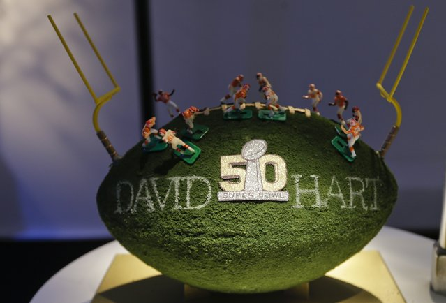A David Hart designed football is displayed at the unveiling of the CFDA Footballs Wednesday, January 20, 2016, at the NFL headquarters in New York. (Photo by Frank Franklin II/AP Photo)