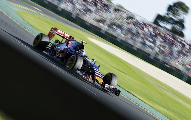 Toro Rosso Formula One driver Carlos Sainz of Spain drives during the second practice session of the Australian F1 Grand Prix at the Albert Park circuit in Melbourne March 13, 2015.    REUTERS/Mark Dadswell