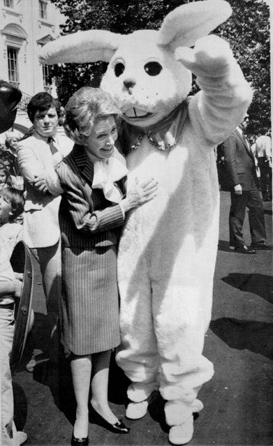 April 20, 1981 Embracing Bunny-First; Lady Nancy Reagan gets an embrace from the Easter Bunny during the annual White House Easter Egg Roll on the South Lawn Monday,  First lady does the bunny hug. (Photo by  Barry L. Thumma/AP Laserphoto)