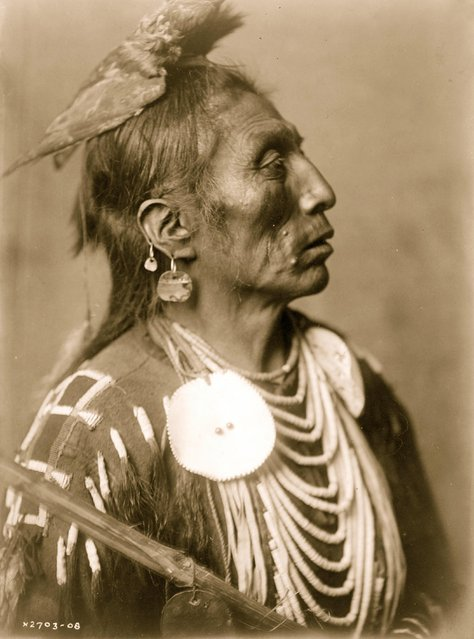 Medicine Crow, Crow Indian, Montana, head-and-shoulders portrait, facing right, hawk hide headdress, two earrings in right ear, disc ornaments, shell beads, beaded scalp shirt, circa 1908. (Photo by Buyenlarge/Getty Images)