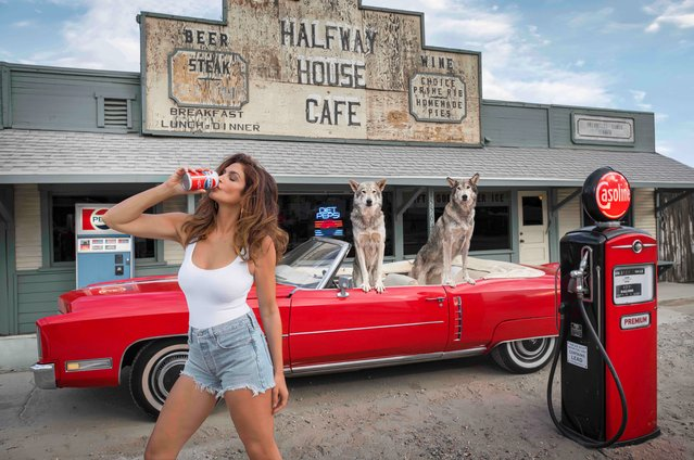 American model Cindy Crawford, 55, recreated her famous Pepsi advert from 1992 for the University of Wisconsin's Cancer Care Unit. Limited edition prints of the model, shot by the photographer David Yarrow, have a $40,000 price tag and have raised $1 million. (Photo by David Yarrow Photography)