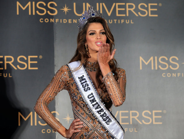 Newly-crowned Miss Universe Iris Mittenaere from France blows a kiss during a news conference inside a Mall of Asia arena in metro Manila, Philippines January 30, 2017. (Photo by Romeo Ranoco/Reuters)
