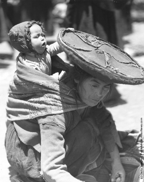 A mother in Peru binds her baby to her back as she works, 1947
