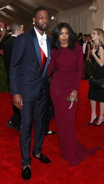 "Dwayne Wade of the Miami Heat NBA basketball team and wife actress Gabrielle Union arrive for the Metropolitan Museum of Art Costume Institute Gala 2015 celebrating the opening of ""China: Through the Looking Glass"" in Manhattan, New York May 4, 2015. (Photo by Andrew Kelly/Reuters)"