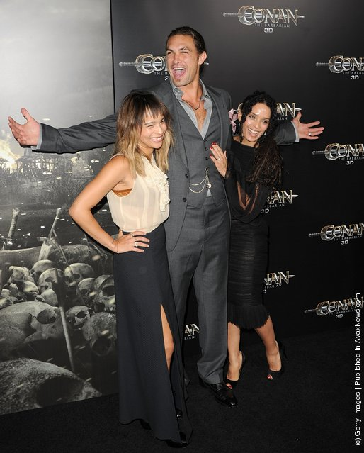Zoe Kravitz, Jason Momoa, and Lisa Bonet attend the world premiere of Conan The Barbarian