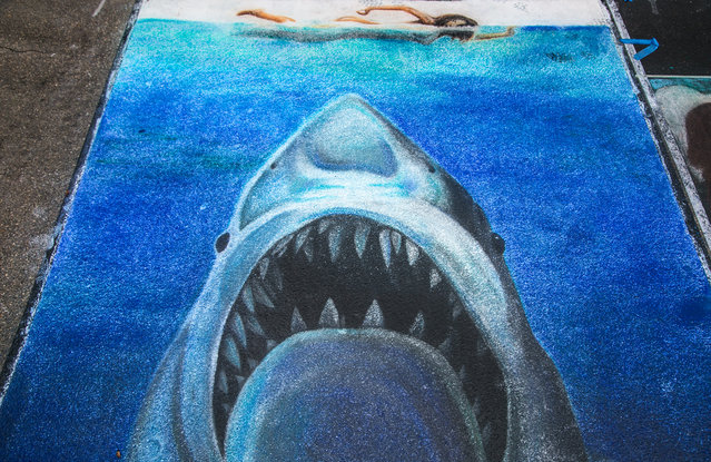 "A painting of the poster for ""Jaws"", the 1975 film directed by Steven Spielberg and based on Peter Benchley's novel of the same name. (Photo by Greg Lovett/The Palm Beach Post)"