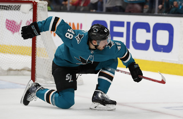 San Jose Sharks center Tomas Hertl celebrates after scoring a goal against the Colorado Avalanche during the first period of Game 7 of an NHL hockey second-round playoff series in San Jose, Calif., Wednesday, May 8, 2019. (Photo by Josie Lepe/AP Photo)