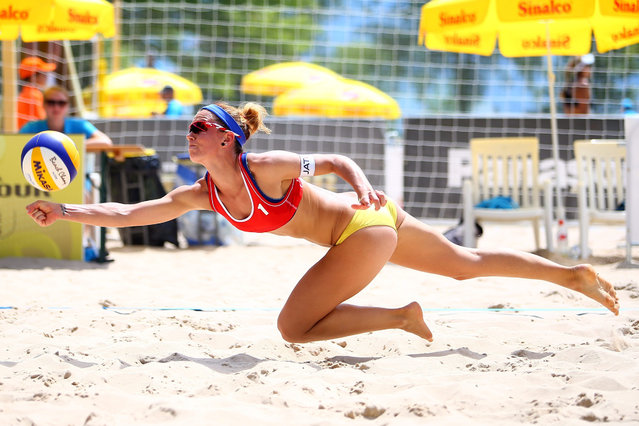 Diane Zolnercikova of the Czech Republic dives for a ball during Day 1 of the FIVB Lucerne Open on May 12, 2015 in Lucerne, Switzerland. (Photo by Jordan Mansfield/Getty Images for FIVB)