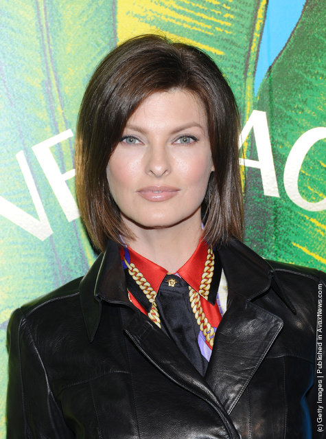 Model Linda Evangelista attends the Versace for H&M Fashion event