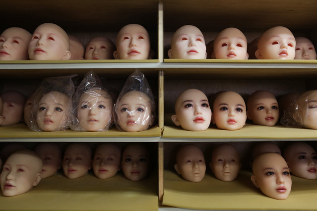 Heads of love dolls are seen on the shelf on March 9, 2017 in Tokyo, Japan. (Photo by Taro Karibe/Getty Images)