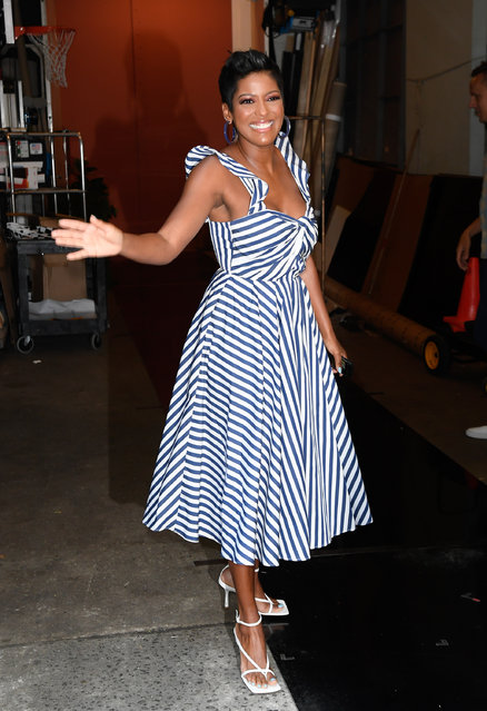 """Tamron Hall is seen on the set of """"Live with Kelly and Ryan"""" on July 29, 2019 in New York City.  (Photo by Raymond Hall/GC Images)"""