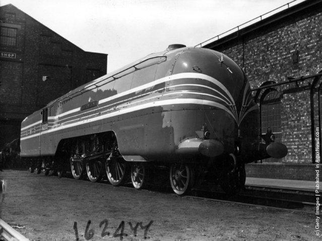 1937: The sleek Coronation Scot 4-6-8 locomotive at Crewe