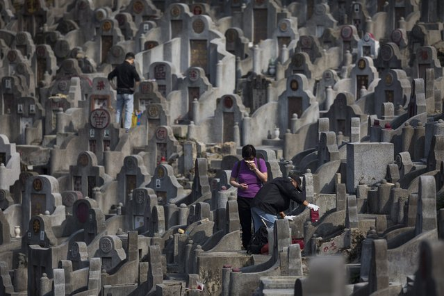 A couple clean their deceased relatives' tomb in Diamond Hill cemetery in Hong Kong, China, 04 April 2017. (Photo by Jerome Favre/EPA)