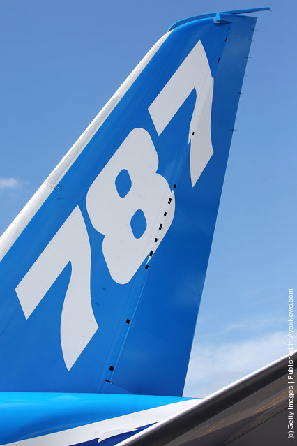 The tail of the Boeing 787 Dreamliner
