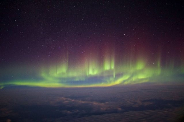 In-flight Entertainment by Paul Williams (UK). Resplendent aurora seen from the window of a transatlantic flight between London and New York in February 2014. The photographer balanced his camera on his backpack to capture this image of the greatest natural light show on earth from a rare perspective. (Photo by Paul Williams)