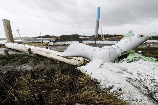 A wind turbine damaged by strong wind from Typhoon Soudelor lies on the ground in Taichung, central Taiwan, August 8, 2015. (Photo by Pell Huang/Reuters)