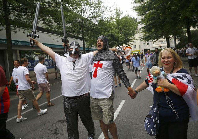 Football Soccer, EURO 2016, Saint Etienne, France on June 20, 2016. England fans gather in Saint Etienne ahead of their team's match against Slovakia. (Photo by Wolfgang Rattay/Reuters)