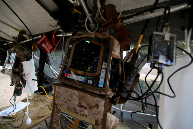 A view of new technology inside a U.S. Marine Forward Trauma Section (STS) shows transmitters that can transmit vital patient information to awaiting medical teams as part of Rim of the Pacific (RIMPAC) 2016 exercises being held at Camp Pendleton, California United States, July 13, 2016. (Photo by Mike Blake/Reuters)