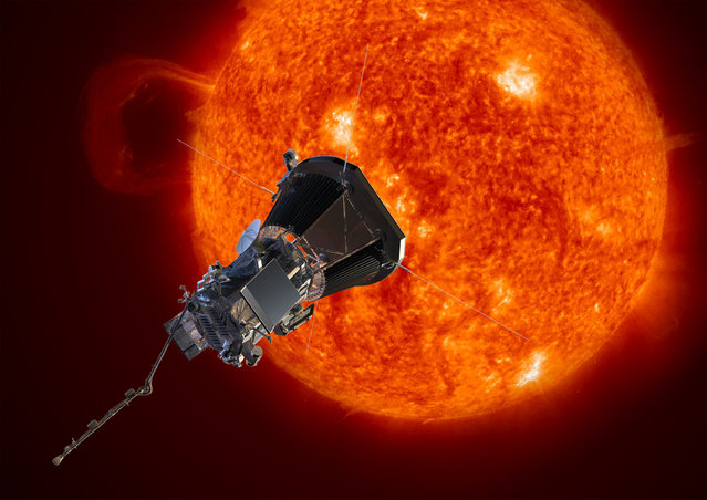 This image made available by the Johns Hopkins University Applied Physics Laboratory on Wednesday, May 31, 2017 depicts NASA's Solar Probe Plus spacecraft approaching the sun. On Wednesday, NASA announced it will launch the probe in summer 2018 to explore the solar atmosphere. It will be subjected to brutal heat and radiation like no other man-made structure before. (Photo by Johns Hopkins University Applied Physics Laboratory via AP Photo)