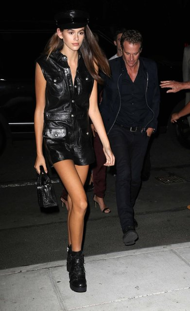 Kaia Gerber arrives at the Mert Alas x Marcus Piggot book launch party at Public Hotelon September 7, 2017 in New York City. (Photo by BackGrid)