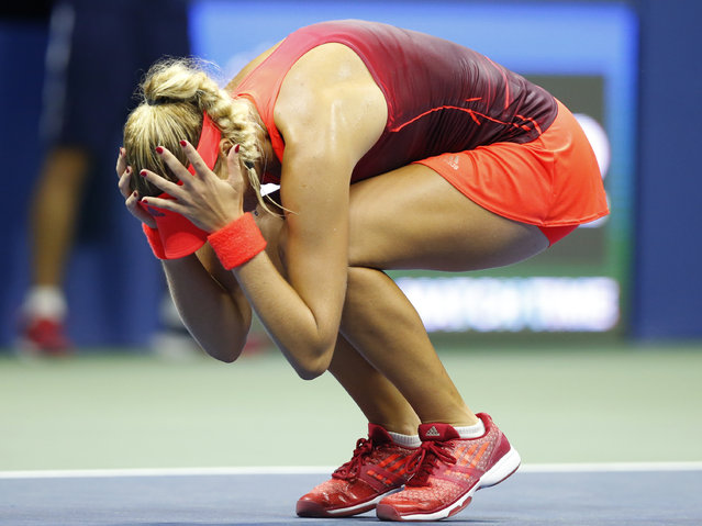 Kristina Mladenovic, of France, reacts after winning her fourth round match against Ekaterina Makarova, of Russia, 7-6, 4-6, 6-1 at the U.S. Open tennis tournament in New York, Monday, September 7, 2015. (Photo by Kathy Willens/AP Photo)