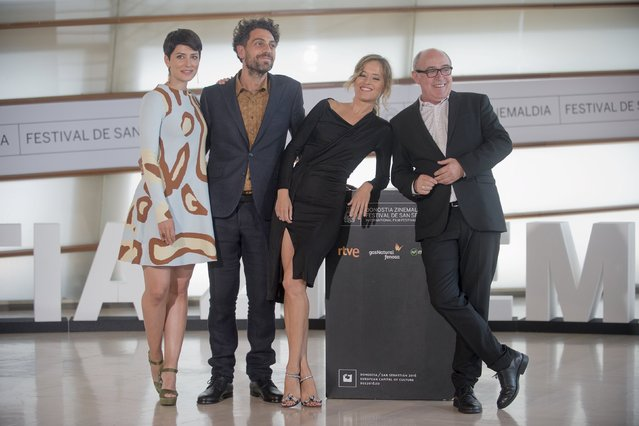 "Actors (L-R) Barbara Lennie, Alvaro Ogalla, Marta Larralde and Juan Calot pose during a photocall to promote the Federico Veiroj directed feature film ""El Apostata"" (The Apostate), which is taking part in the Official Section of the 63rd San Sebastian Film Festival in San Sebastian, northern Spain, September 22, 2015. (Photo by Vincent West/Reuters)"