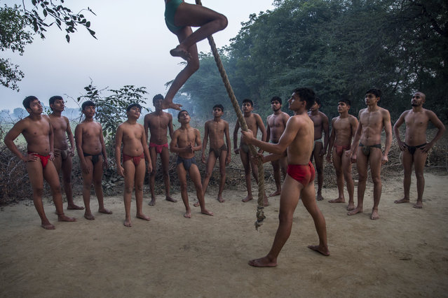 In this November 22, 2017 photo, Indian Kushti wrestlers wait for their turn to practice rope climbing, during their daily training, at an akhada, a kind of wrestling hostel at Bahadurgarh, in Haryana, India. (Photo by Dar Yasin/AP Photo)