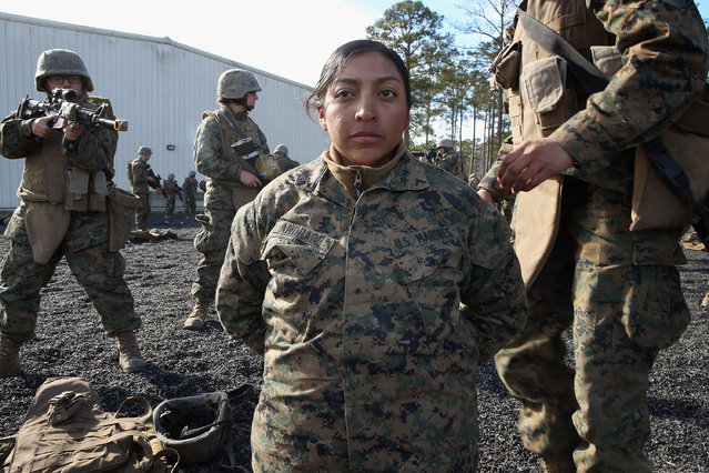 Pvt. Toni Rodriguez (L) of Naugatuc, Connecticut, Roxsana Andrade (C) of Fairfax, Virginia and Pfc. Cristiana Alvarez from Milwaukee, Wisconsin work on search procedures during Marine Combat Training (MCT) on February 20, 2013 at Camp Lejeune, North Carolina.  Since 1988 all non-infantry enlisted male Marines have been required to complete 29 days of basic combat skills training at MCT after graduating from boot camp. MCT has been required for all enlisted female Marines since 1997. About six percent of enlisted Marines are female.  (Photo by Scott Olson)