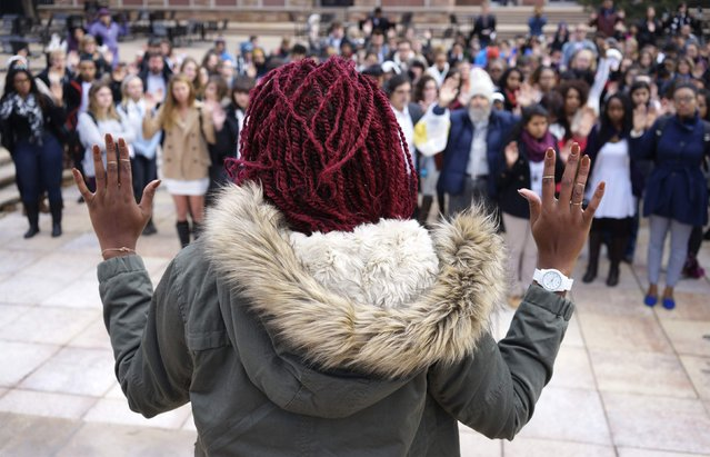 Students at the University of Colorado gather in support of protesters in Ferguson, Missouri, during a demonstration in Boulder, Colorado December 1, 2014. The demonstration was part of a national student walk-out. (Photo by Rick Wilking/Reuters)