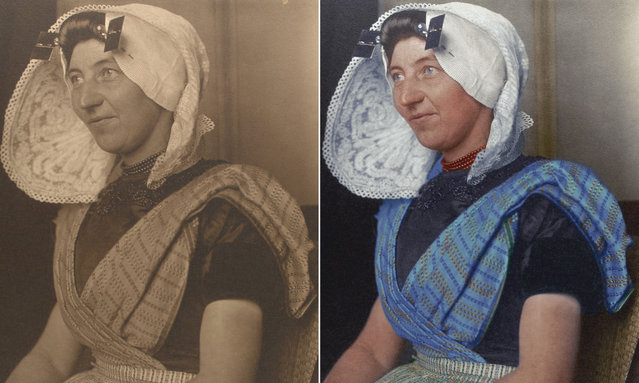 A Dutch woman circa 1910 wearing a large bonnet, one of the most recognizable aspects of Dutch traditional dress. It was usually made of white cotton or lace and sometimes had flaps or wings, and often came with a cap. (Photo by Augustus Francis Sherman/New York Public Library/The Guardian)