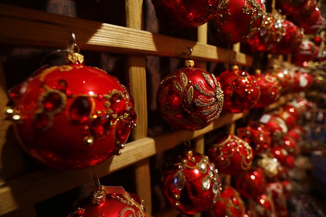 Glass baubles Christmas decorations are displayed at the Silverado manufacture of hand-blown Christmas ornaments in the town of Jozefow outside Warsaw December 2, 2014. (Photo by Kacper Pempel/Reuters)