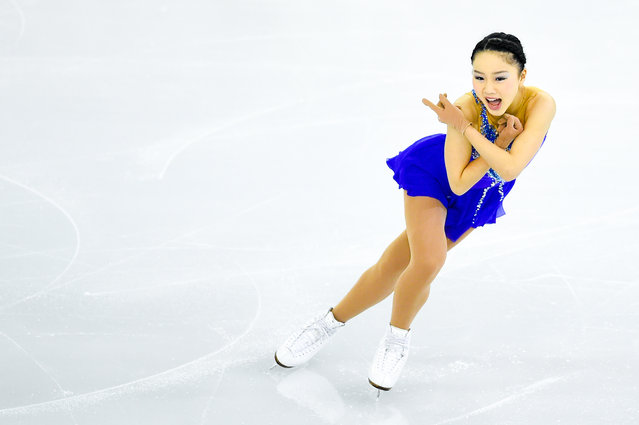 Wakaba Higuchi of Japan competes in the Junior Ladies Free Skating Final during day two of the ISU Grand Prix of Figure Skating Final 2014/2015 at Barcelona International Convention Centre on December 12, 2014 in Barcelona, Spain. (Photo by David Ramos/Getty Images)