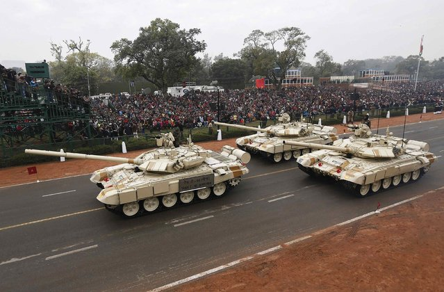 Indian Army's T-90 Bhishma tanks take part in a full dress rehearsal for the Republic Day parade in New Delhi January 23, 2015. (Photo by Adnan Abidi/Reuters)
