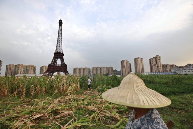 """A farmer walks through a field near a replica of the Eiffel Tower at the Tianducheng development in Hangzhou, Zhejiang Province August 1, 2013. Tianducheng, developed by Zhejiang Guangsha Co. Ltd., started constructing in 2007 and was known as a knockoff of Paris with a scaled-replica of the Eiffel Tower, standing 108 metres, and Parisian houses. Although designed to accommodate at least ten thousand people, Tianducheng remains sparsely populated and is now considered as a """"ghost town"""", according to local media. (Photo by Aly Song/Reuters)"""