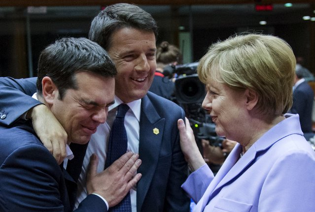 (L-R) Greek Prime Minister Alexis Tsipras, Italian Prime Minister Matteo Renzi and German Chancellor Angela Merkel attend a European Union leaders summit in Brussels, Belgium, June 25, 2015. (Photo by Yves Herman/Reuters)