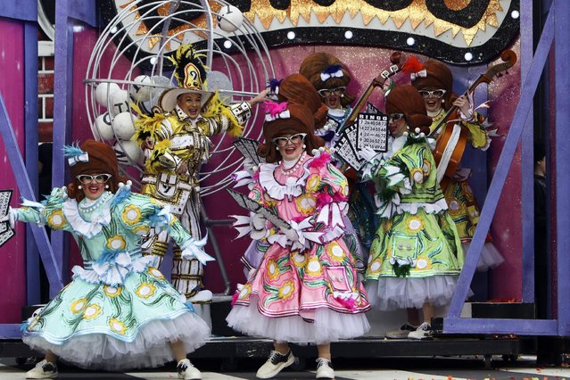 Members of the Uptown String Band perform during the 116th annual Mummers Parade in Philadelphia on Friday, January 1, 2016. (Photo by Joseph Kaczmarek/AP Photo)