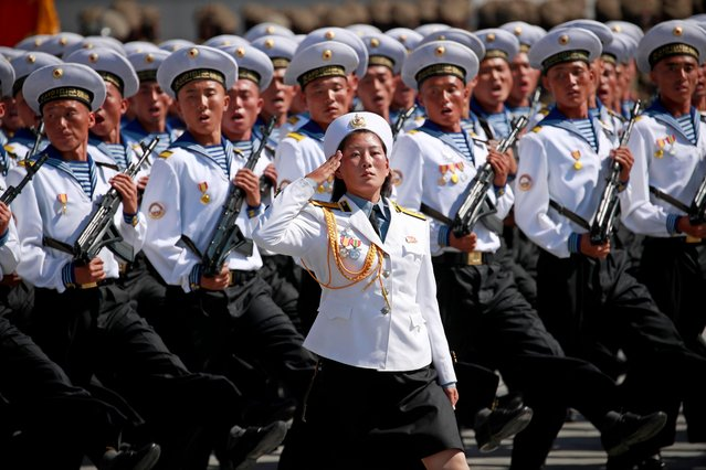 North Korean navy soldiers march past during a parade celebrating the National Day and 70th anniversary of its Foundation in Pyongyang, North Korea, 09 September 2018. (Photo by How Hwee Young/EPA/EFE)