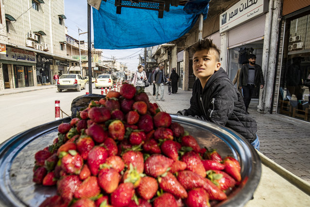 A Kurdish boy sits next to a tray of fresh strawberries for sale on the side of a main street in Syria's northeastern city of Qamishli on March 9, 2021. Syria's decade-long war has seen the country's Kurdish minority, which had been marginalised for decades, make strides towards autonomy while becoming a key ally of the West against jihadists. (Photo by Delil Souleiman/AFP Photo)