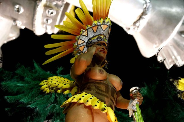 A member of Samba school Mocidade takes part in a parade, based on Don Quixote, as part of first day of parades of special group's samba schools during Rio de Janeiro's Carnival at Sambadrome in Rio de Janeiro, Brazil, early morning February 8, 2016. (Photo by Marcelo Sayao/EFE/Sipa USA)