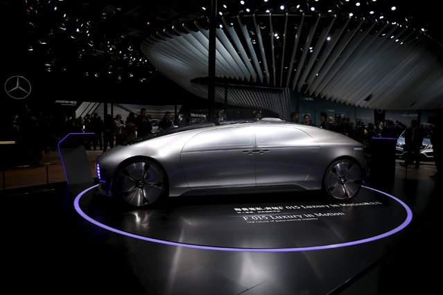 The Mercedes-Benz F015 Luxury in Motion autonomous concept car is seen during a presentation at the 16th Shanghai International Automobile Industry Exhibition in Shanghai, April 20, 2015. (Photo by Aly Song/Reuters)
