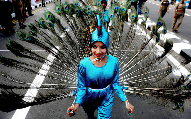 """Indian school students perform the """"mayillattam"""" Peacock Dance during a parade to mark Republic Day in Chennai on January 26, 2017 India is marking its 68 th Republic Day with parades and events across the country. (Photo by Arun Sankar/AFP Photo)"""