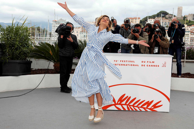"""Algerian actress Shirine Boutella poses during a photocall for the film """"Papicha"""" at the 72nd edition of the Cannes Film Festival in Cannes, southern France, on May 17, 2019. (Photo by Eric Gaillard/Reuters)"""